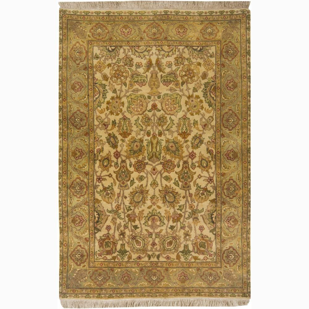 Hand-knotted Mandara Oriental Gold New Zealand Wool Rug (4' x 6')