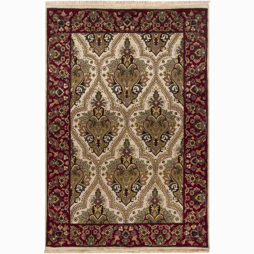 Hand-knotted Mandara Oriental Ivory New Zealand Wool Rug (4' x 6')