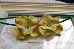 Green Double Dainty Flowers Headband - Thumbnail 1