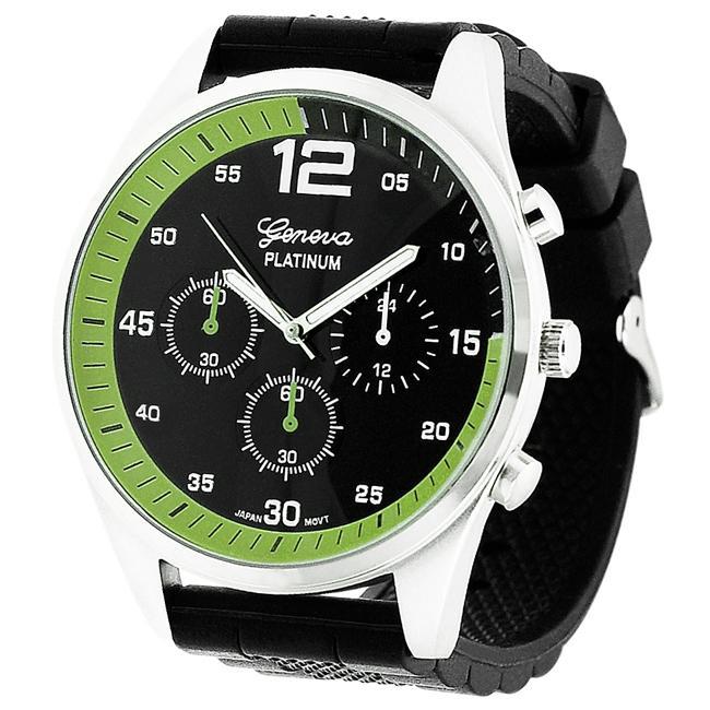 Geneva Platinum Men's Chronograph-style Silicone Watch