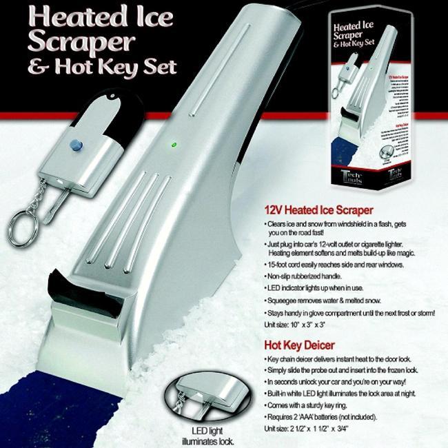 Heated 12-volt Ice Scraper and Hot Key Deicer Set
