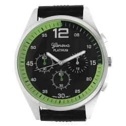 Geneva Platinum Men's Chronograph-style Silicone Watch - Thumbnail 1