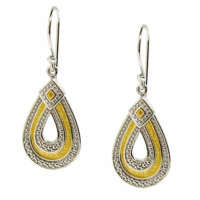 14k Gold and Sterling Silver Teardrop Dangle Earrings