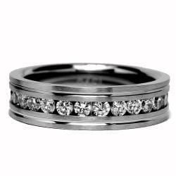 Oliveti Stainless Steel Clear Cubic Zirconia Grooved Eternity Ring