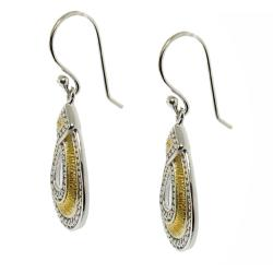 14k Gold and Sterling Silver Teardrop Dangle Earrings - Thumbnail 1