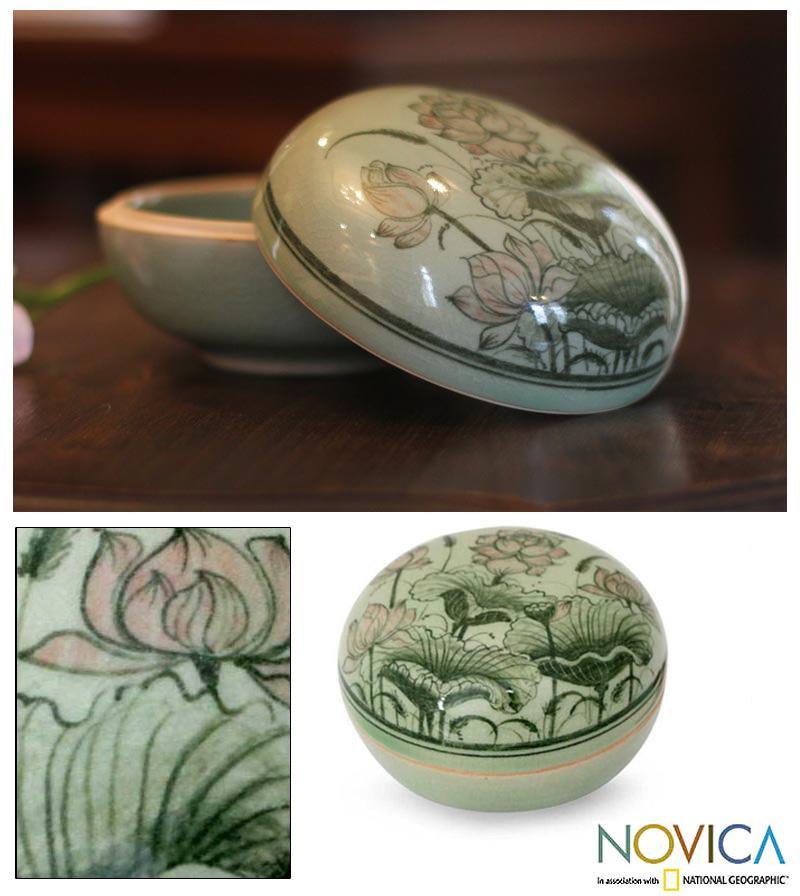 Handcrafted Celadon Ceramic 'Luxurious Lotus' Box (Thailand)