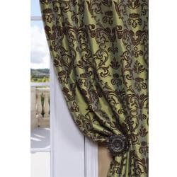 Exclusive Fabrics Flocked Firenze Fern Green Faux Silk 84-inch Curtain Panel