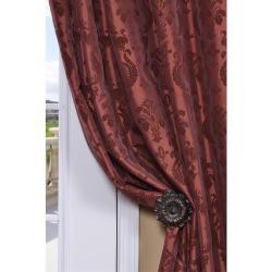 Exclusive Fabrics Flocked Renaissance Paprika Faux Silk 108-inch Curtain Panel - Thumbnail 1