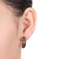 Miadora Pink Silver and Black Rhodiumplated Hoop Earrings - Thumbnail 2