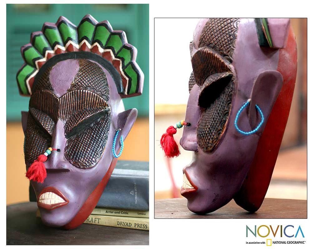 Handcrafted Sese Wood and Brass 'Africa Tribute' African Mask (Ghana)