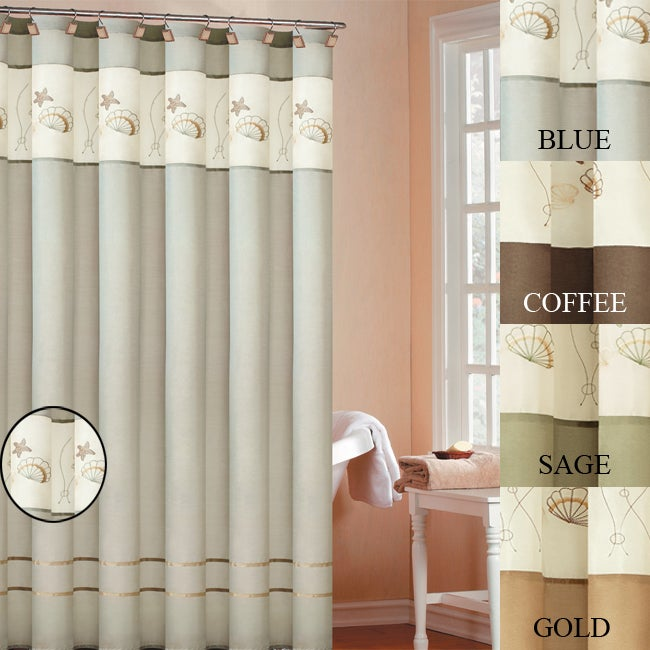 Oceana Embroidered Shower Curtain - Thumbnail 0