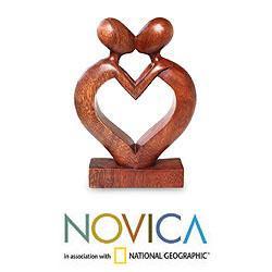 Suar Wood 'Love Flows' Sculpture (Indonesia)