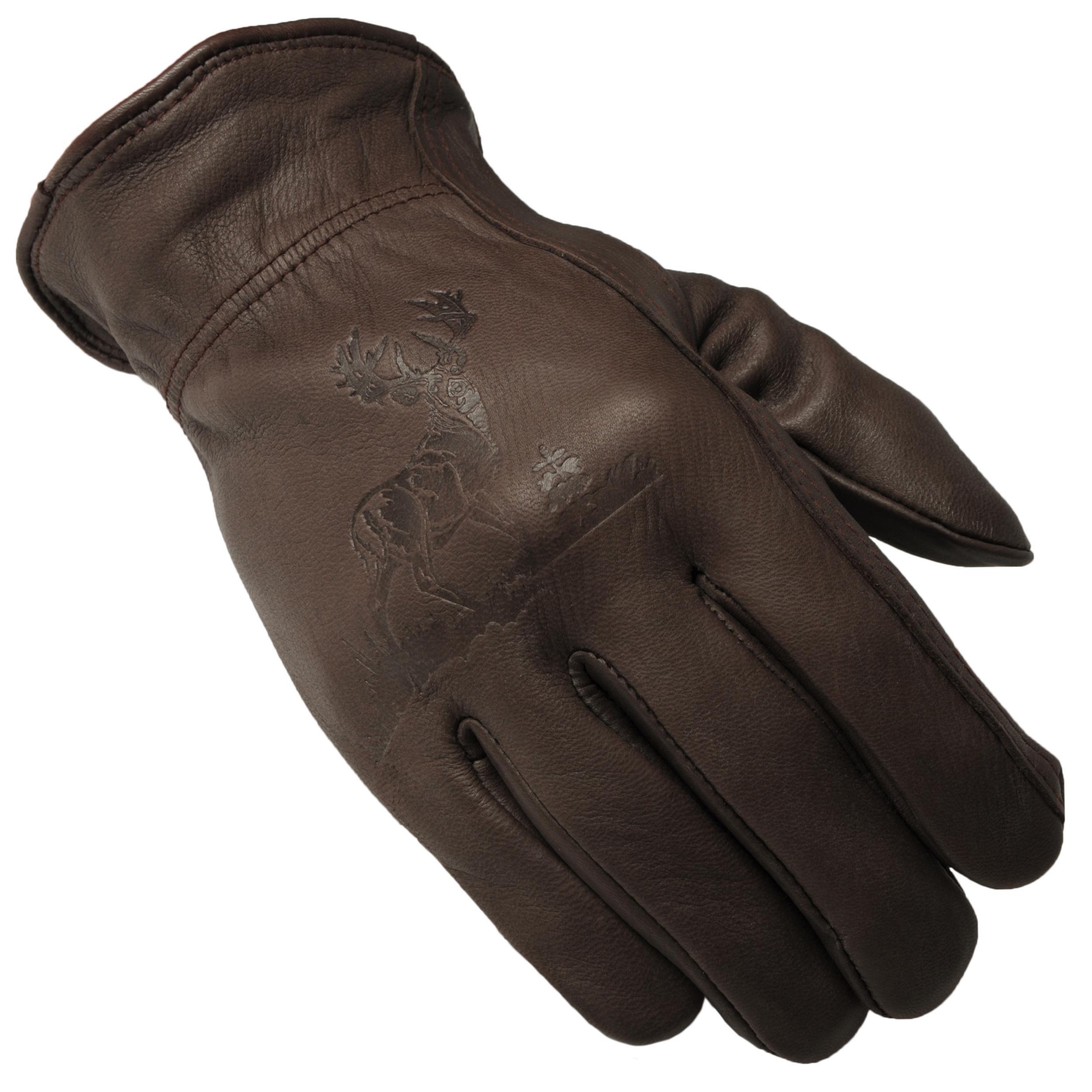 Daxx Men's Top Grain Deerskin Leather Whitetail Wildlife Print Gloves