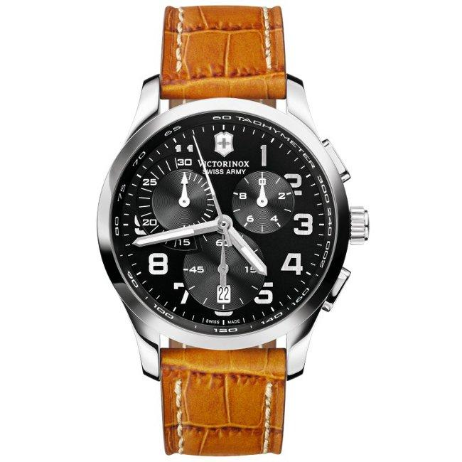 Shop Victorinox Swiss Army Men s  Alliance  Chrono Black Dial Leather Strap  - Free Shipping Today - Overstock - 6082485 e75d8c21f2