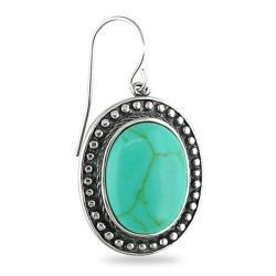 Sterling Silver Oval-cut Turquoise Earrings