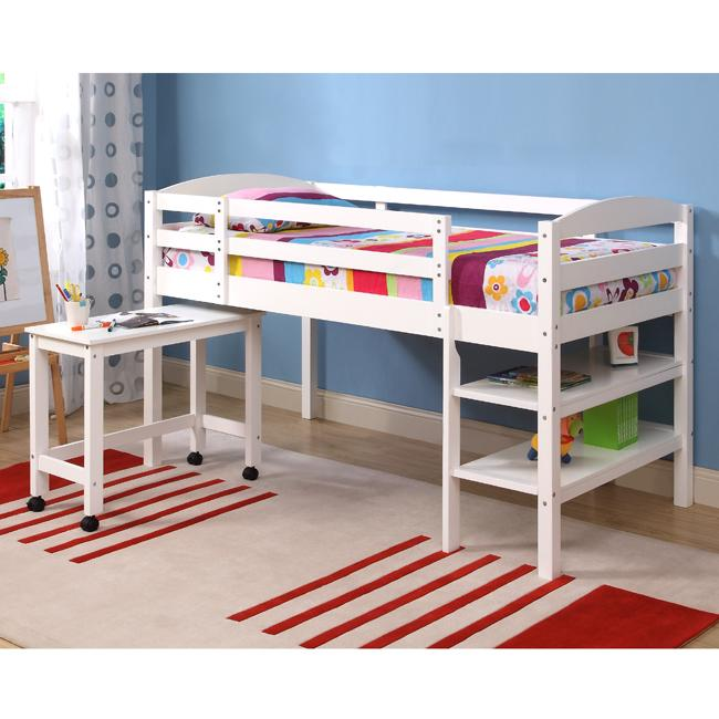 Solid Wood White Twin Size Loft Bed With Desk Free
