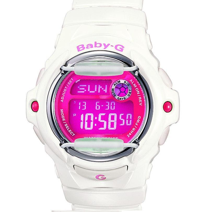 0b373e7b2 Shop Casio Women's 'Baby-G' White/ Pink Digital Sport Watch - Free Shipping  Today - Overstock - 6053145
