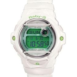 Casio Women's 'Baby-G' White/ Green Digital Sport Watch