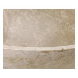 Square Edged Emperador Light Stone Vessel Sink