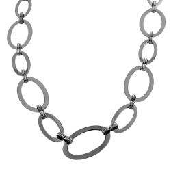 Fremada Stainless Steel Flat Polished Oval Link Necklace