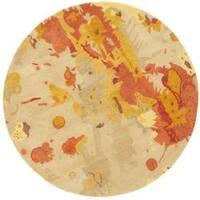 Safavieh Handmade Soho Splashes Modern Abstract Beige Wool Rug (6' x 6' Round)