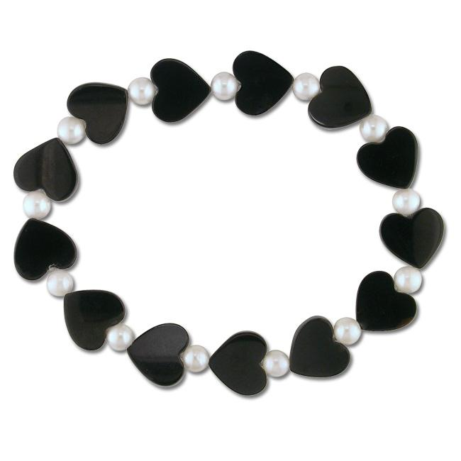 Miadora White Freshwater Pearl and Onyx Heart Stretch Bracelet (5-5.5 mm)