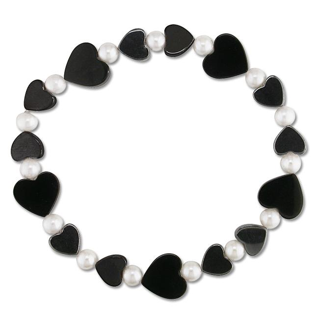 Miadora White Freshwater Pearl, Onyx and Hematite Heart Stretch Bracelet