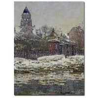 Claude Monet 'The Church at Vetheuil, 1879' Gallery-Wrapped Canvas Wall Art - Grey/white