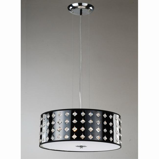 Black and Stainless Steel Crystal 3-light Pendant