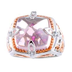 Michael Valitutti Two-tone Rose Quartz and Pink/ White Sapphire Ring