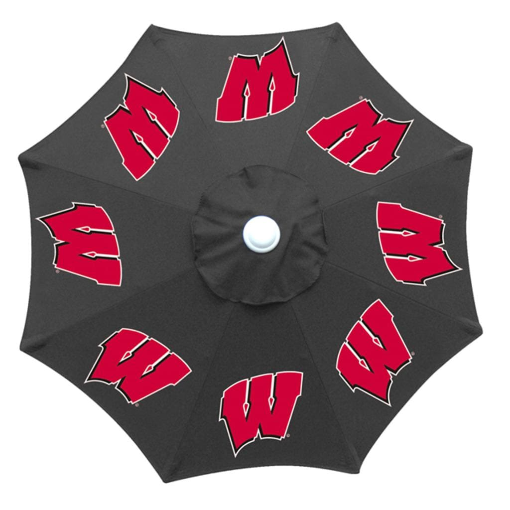 Round glass dining table set - Wisconsin Badgers 9 Foot Patio Umbrella Free Shipping Today