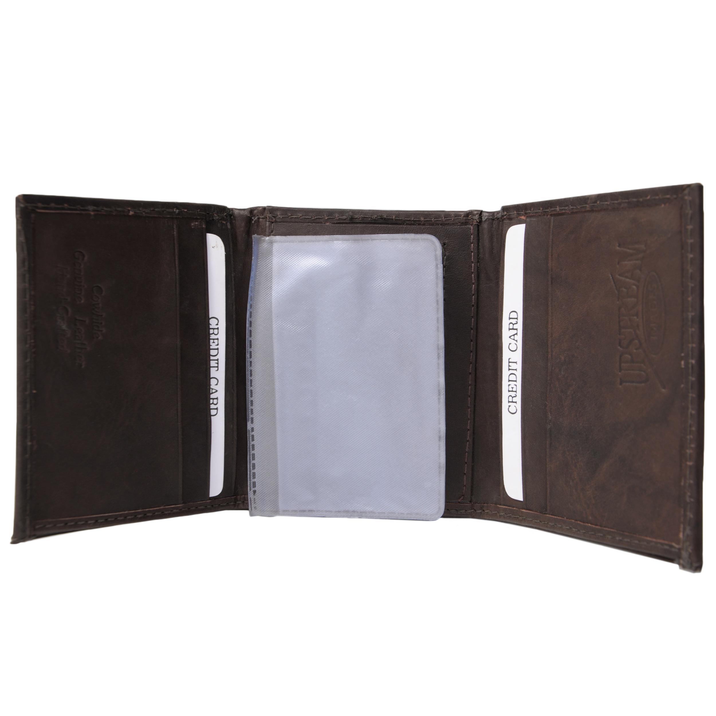 Boston Traveler Men's Genuine Leather Trout Embossed Tri-fold Wallet