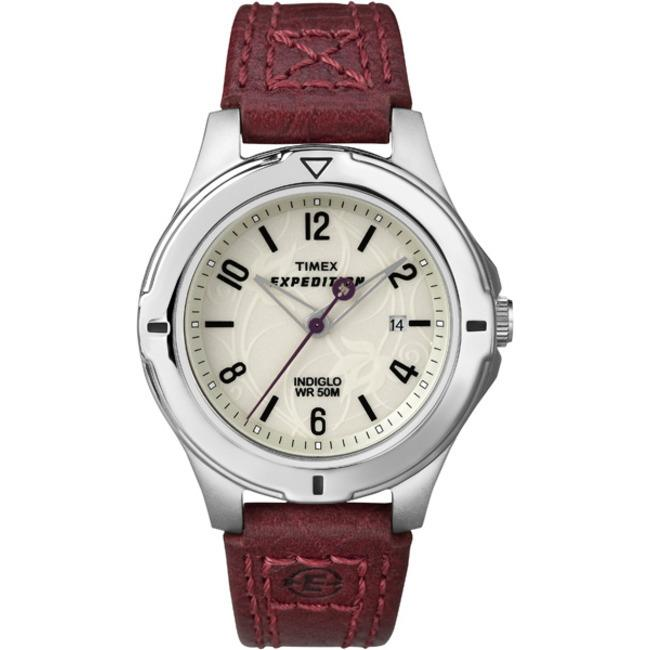 Timex T498559J Women's Expedition Field Burgundy Leather Strap Watch