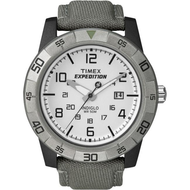 Timex T498649J Men's Expedition Rugged Analog Grey/ Green Canvas Strap Watch