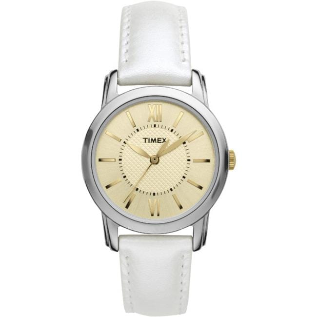 Timex T2N6829J Women's 'Style Chic' White Leather Strap Watch