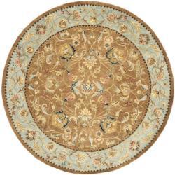 Safavieh Handmade Eden Brown/ Blue Hand-spun Wool Rug (8' Round)