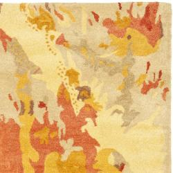 Safavieh Handmade Soho Splashes Modern Abstract Beige Wool Rug (7' 6 x 9' 6) - Thumbnail 1