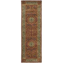 Safavieh Handmade Aubusson Bonnelles Red/ Beige Wool Rug (2'6 x 10')