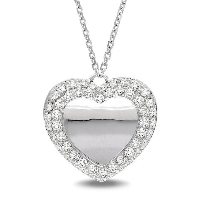 Miadora 14k White Gold 1/2ct TDW Diamond Heart Necklace (G-H, SI1-SI2)