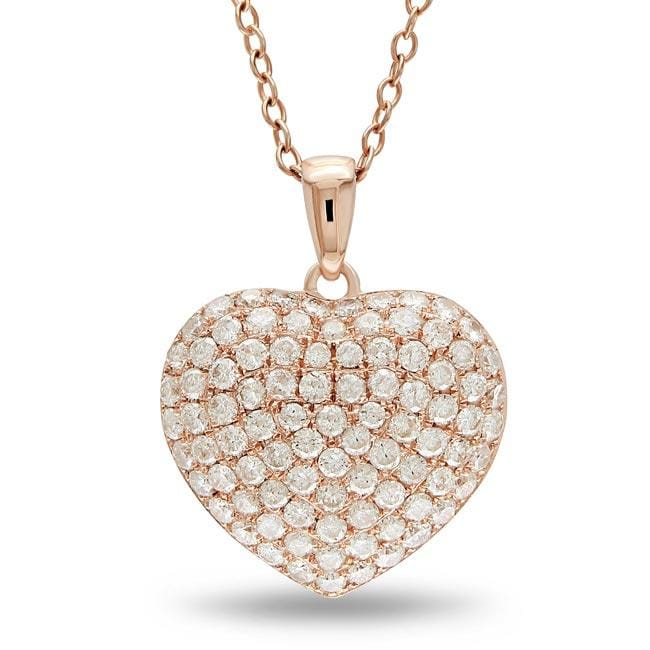 Miadora 14k Rose Gold 1ct TDW Pave Diamond Heart Necklace