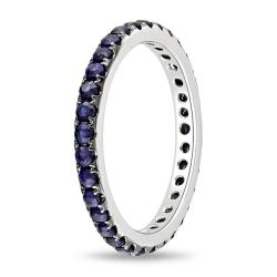 Miadora 14k White Gold Blue Sapphire Eternity Ring