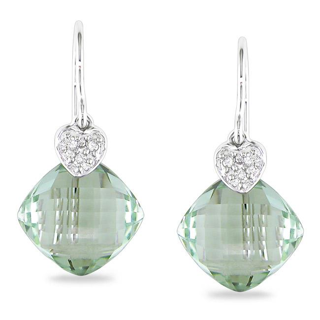 Miadora 14k White Gold Green Amethyst and Diamond Accent Earrings