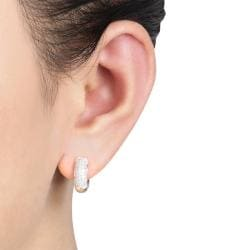 Miadora 10k White Gold 1/2ct TDW Diamond Cuff Earrings