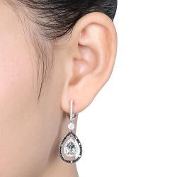 Miadora 14k White Gold Green Amethyst and 1ct TDW Diamond Earrings (G-H, SI1-SI2)