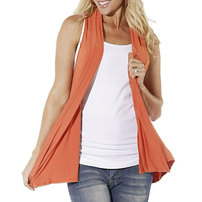Lilac Clothing's Womens Maternity Nanci Cardi in Orange/Grey