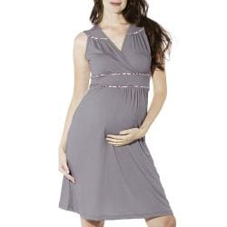 Lilac Clothing's Women's 'Katherine' Grey Maternity Dress - Thumbnail 1