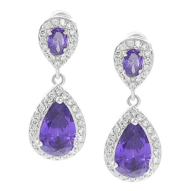 Journee Collection Silvertone Purple and White CZ Teardrop Dangle Earrings