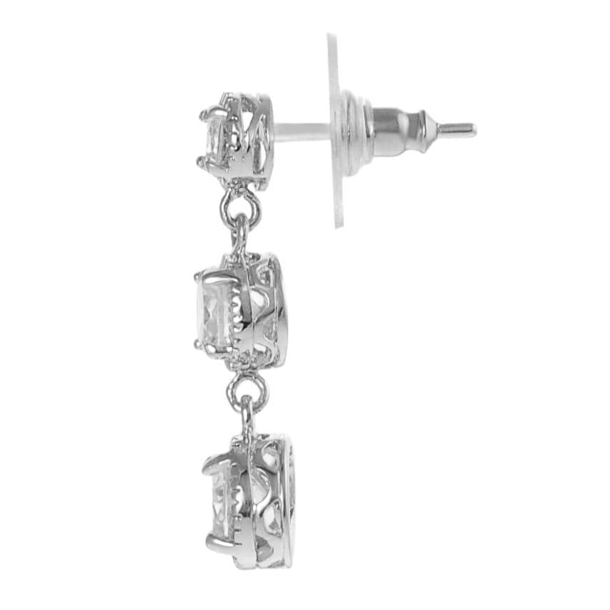 Journee Collection Silvertone Round-cut CZ Dangle Earrings