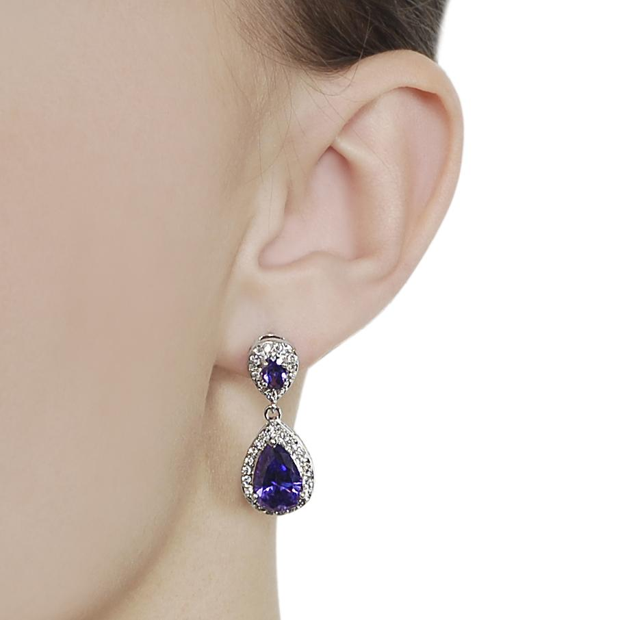 Journee Collection Silvertone Purple and White CZ Teardrop Dangle Earrings - Thumbnail 2