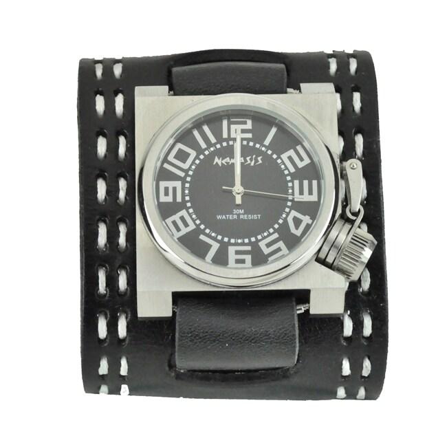 Nemesis Men's Black Sharp Bold Square Leather Watch
